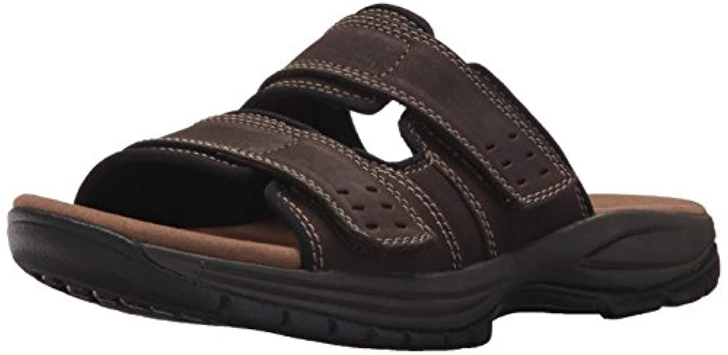 Dunham Men's Newport Slide Sandal Dark Brown 12 D & Cooling Towel Bundle