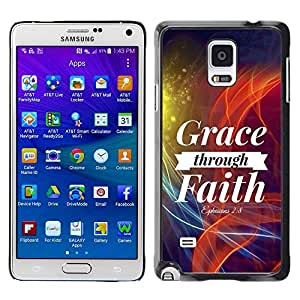 PC/Aluminum Funda Carcasa protectora para Samsung Galaxy Note 4 SM-N910F SM-N910K SM-N910C SM-N910W8 SM-N910U SM-N910 BIBLE Grace Through Faith - Ephesians 2:8 / JUSTGO PHONE PROTECTOR