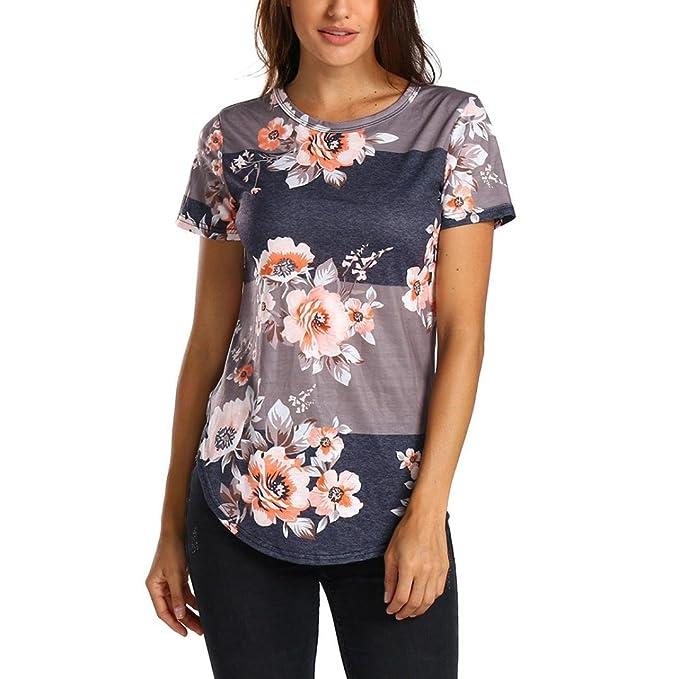 50f938b71a7373 TIFIY Frauen Sommer Cool Blumendruck Streifen Kurzarm Shirt Tops Oansatz  Lose Beiläufige Bluse Top (M