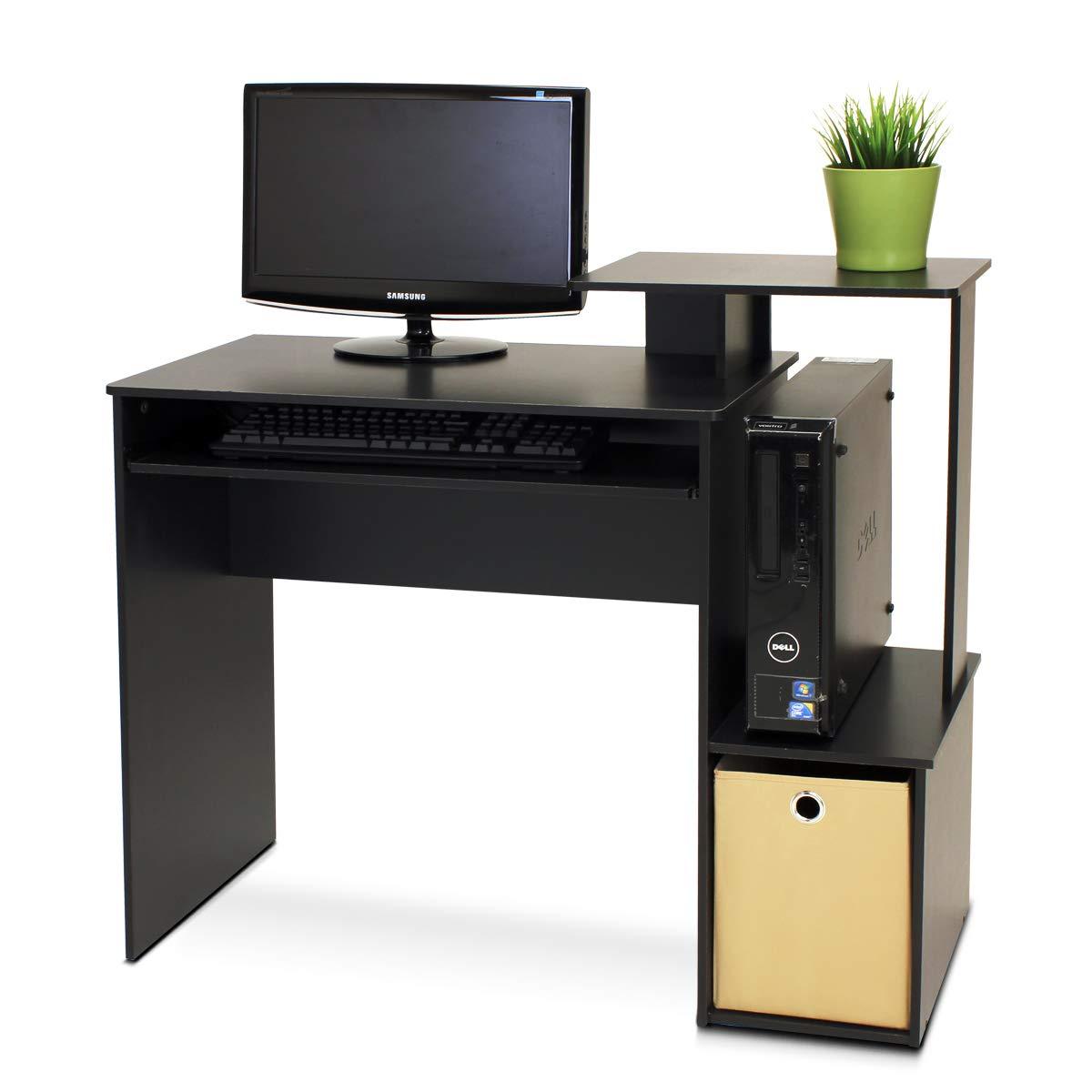 Furinno 12095BK//BR econ Multiuso casa Ufficio Computer scrivania con Bin Nero//Marrone