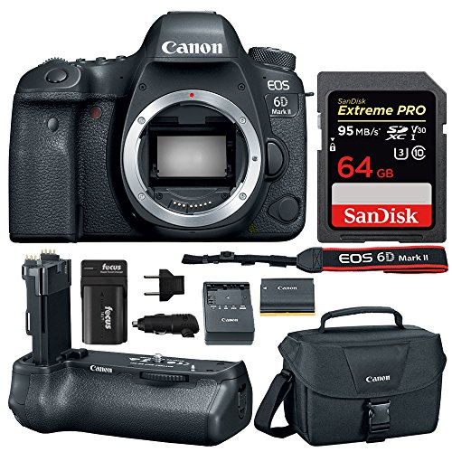 Canon EOS 6D Mark II Professional Digital Camera: 26 Megapixel Touchscreen Full Frame DSLR Bundle with Canon BG-E21 Battery Grip 64GB SD Card SLR Bag & Double Battery With Charger - Photographers Kit