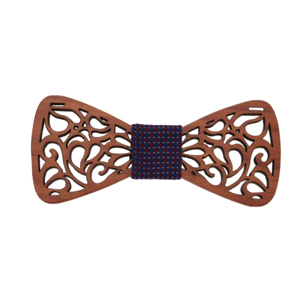 Hello Tie Men's Handmade Creative Hollow Out Wood Bow Tie With Gift and Box (Shape 4)