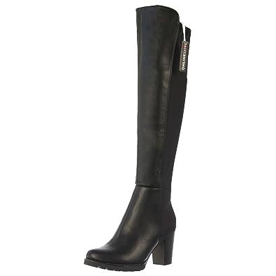 b8710d923fb2e Onlineshoe Women's Ladies Extra Wide Calf Stretch Knee High Block Heel Riding  Boot UK3 - EU36