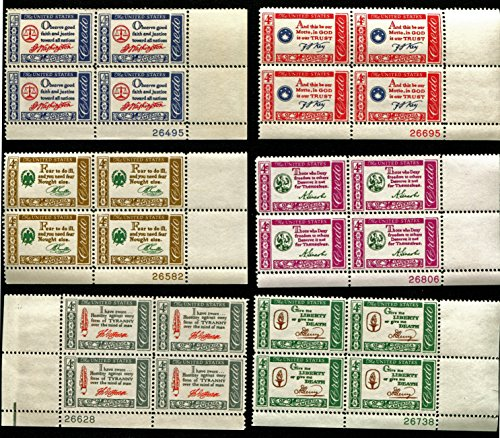 Us Plate Block (AMERICAN CREDO SERIES ~ GEORGE WASHINGTON ~ BENJAMIN FRANKLIN ~ THOMAS JEFFERSON ~ FRANCIS SCOTT KEY ~ ABRAHAM LINCOLN ~ PATRICK HENRY #1139-1144 Complete Series of 6 Plate Blocks of 4 x 4¢ US Postage Stamps)