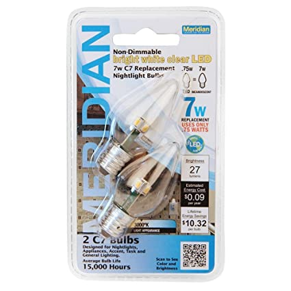 Meridian LED 7W Equivalent Bright White Clear C7 Non-Dimmable LED Replacement Light Bulb - - Amazon.com