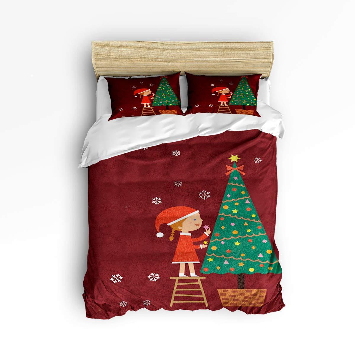 NewThangKa 3ピース寝具セット – ソフトダウン掛け布団キルト寝具カバー1枚 お揃いの枕カバー2枚 ファスナー開閉 クリスマスカートゥーンペインティング寝具布団カバーセット Twin Size WSJ-181122-3pcsets-SWTQ00411SJSANTK B07L86Q1FB Christmastree4ntk6274 Twin Size