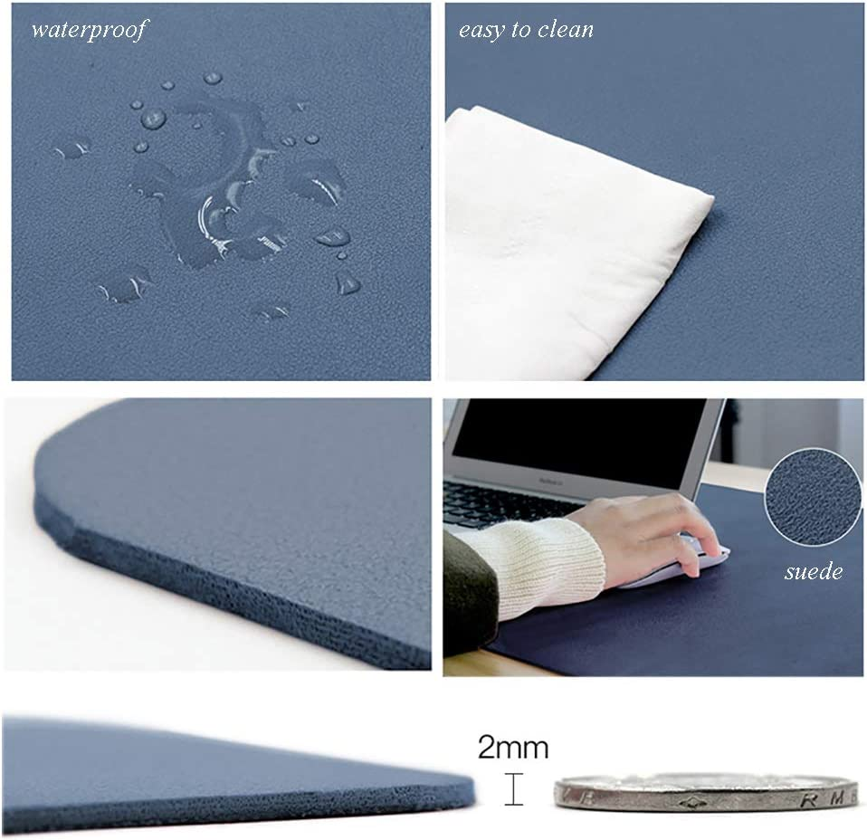 47x24inch F-LFJBK Office Desk Pad Protector PU Leather Waterproof Mouse Mat,Anti-Slip Extended Writing Mat Laptop Pc Keyboard Large Desk Blotter Protector-Brown+Grey 120x60cm