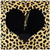 3dRose LLC Punk Rockabilly Cheetah Animal Print Black Heart Wall Clock, 10 by 10-Inch