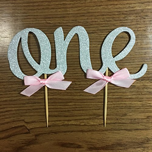 Handmade 1st First Birthday Cake Topper Decoration – One – Made with Double Sided Silver Glitter Stock,Set of 2