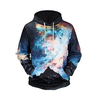 Jandz] Sudadera con Capucha Galaxy Unisex diseños de Cielo Estrellado, Luna, Tierra,