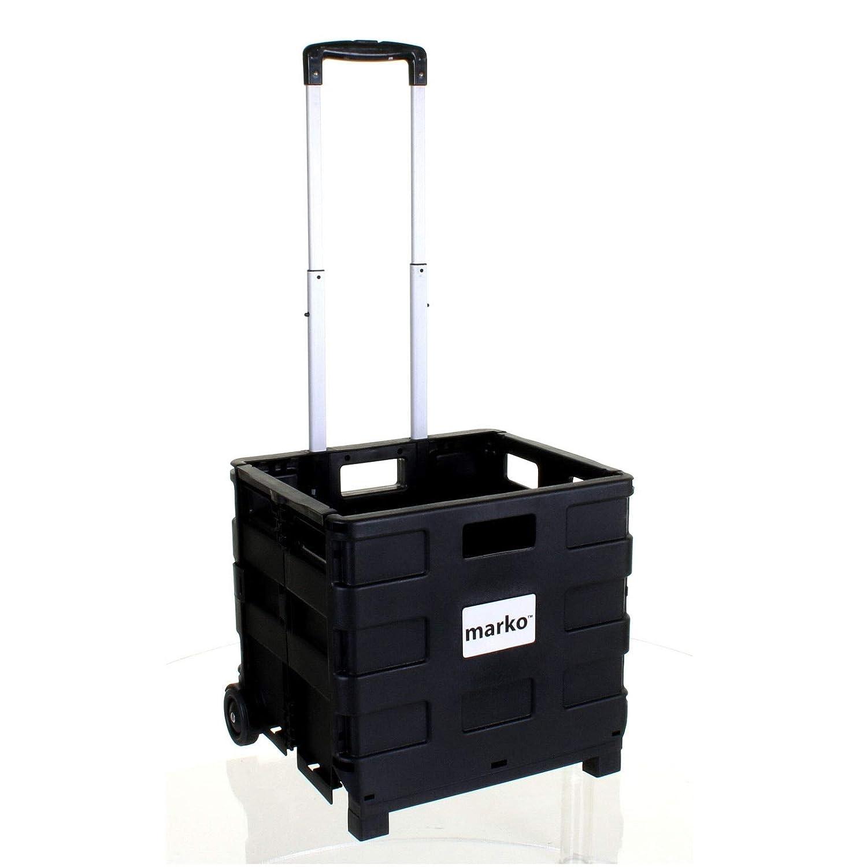 Ansley & Hosho mobile carrello trolley pieghevole con coperchio pieghevole Rolling Utility cart Storage box 2ruote con manico regolabile in altezza per shopping Groceries for Heavy Duty Black-red: 25kg Ansley&HosHo