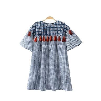 7b70cdeebd Women Vintage Tassel Plaid Loose Long Shirts Sleeve Oversized Ladies Summer  Casual Brand Blouses Blusas DT994