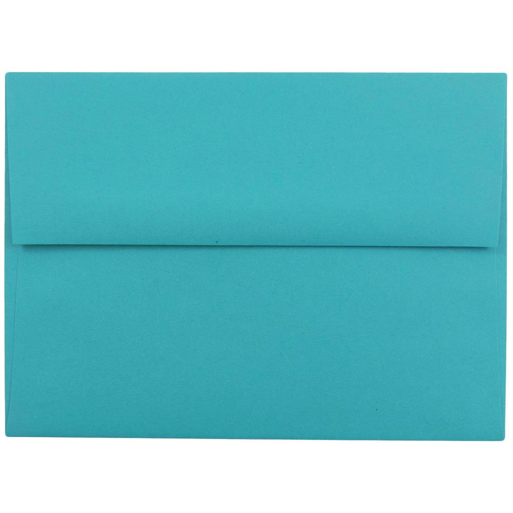 JAM Paper® A6 (4 3/4 x 6 1/2) Recycled Invitation Envelopes - Brite Hue Sea Blue - 50 envelopes per pack