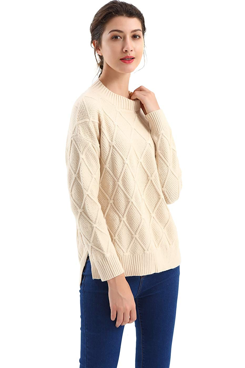3192c0db934e9c BodiLove Women's Mock Neck Pullover Fishermen Cable Knit Sweater at Amazon  Women's Clothing store: