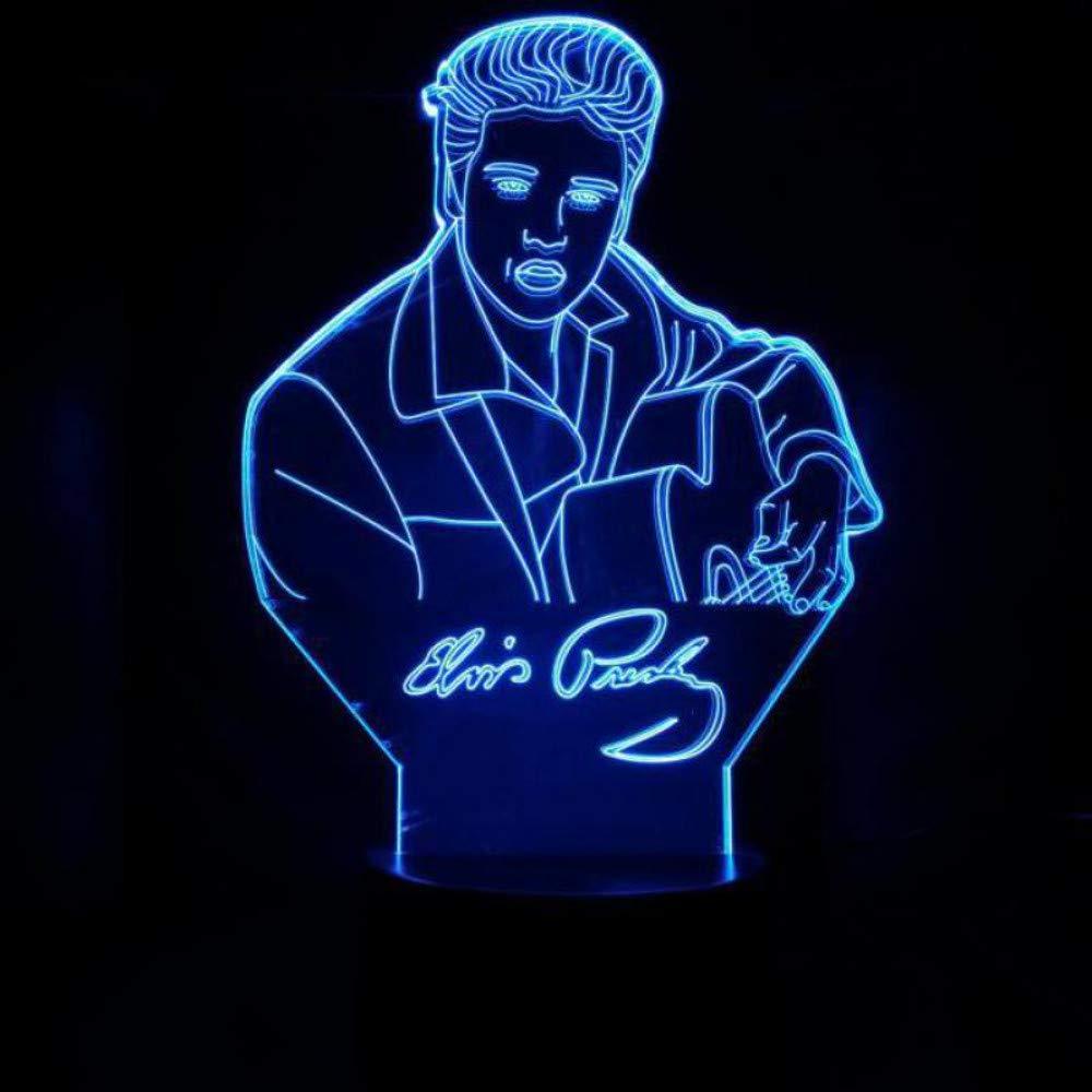 Elvis Tischlampe Touch Sensor 7 Farbwechsel Kind Kinder Geschenk The King S/änger Elvis Aaron Presley Nachtlicht Led Schlafzimmer Dekor Without remote control