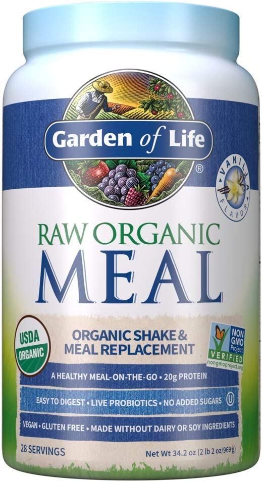 Garden of Life Raw Organic Meal Replacement Powder - Vanilla, 28 Servings, 20g Plant Based Protein Powder, Superfoods, Greens, Vitamins Minerals Probiotics & Enzymes All-in-One Meal Replacement Shake