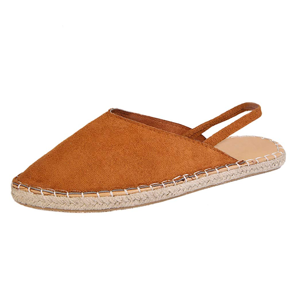 YKARITIANNA Women Ladies Fashion Flat Casual Slip On Pointed Toe Roman Shoes Sandals Brown