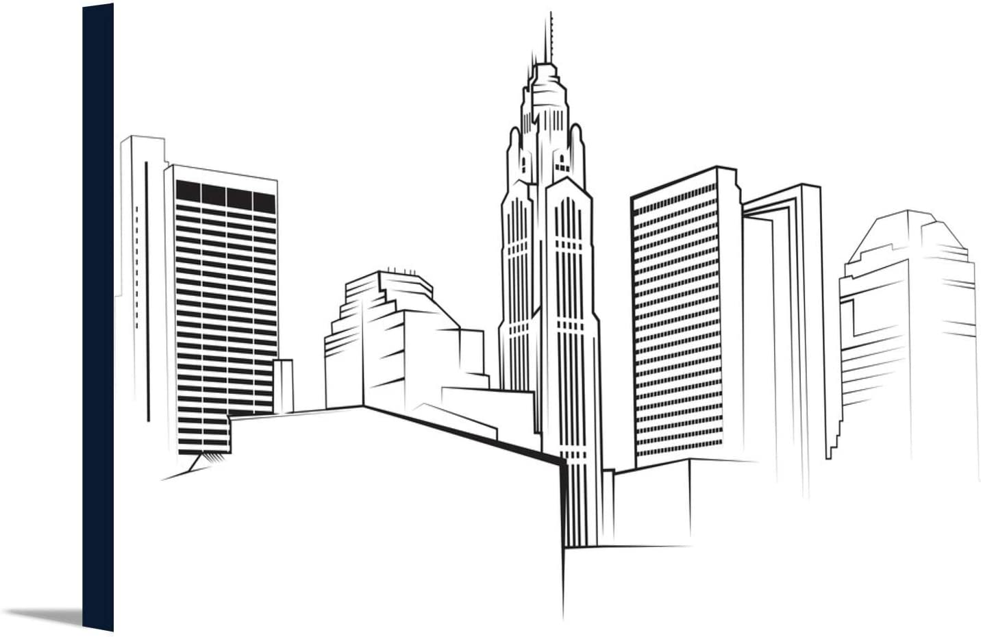 amazon com columbus ohio skyline vector illustration 9034269 18x10 3 8 gallery wrapped stretched canvas posters prints amazon com