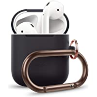 elago AirPods Hang Case [Black] - [Extra Protection][Perfect Fit][Hassle Free][Added Carabiner] - for AirPods Case