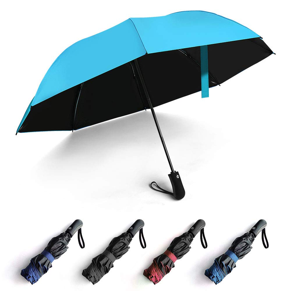 Reverse Automatic Open Close Folding Umbrella,Windproof Golf Car Travel Large Inverted Compact Portable Sun&Rain UV Ultraviolet-proof Umbrella For Men Women,46 Inch (Sky Blue)