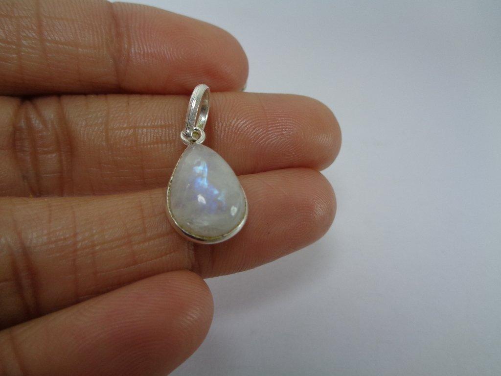 diosa energ/ía colgante regalo para ella colgante de plata de ley 925 Aut/éntica Rainbow piedra lunar peque/ño colgante en forma de l/ágrima
