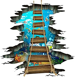 Sea World Floor Stickers 3D Underwater Ocean Colorful Fishes Wall Sticker Wooden Suspension Bridge PVC Art Wall Decal for Bathroom Living Room Nursery Bedroom Playroom