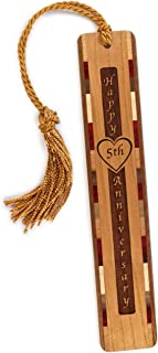 product image for Personalized 5th Anniversary with Names and Wedding Date, Engraved Wooden Bookmark with Tassel - Search B01EB6BLRY for Non-Personalized Version