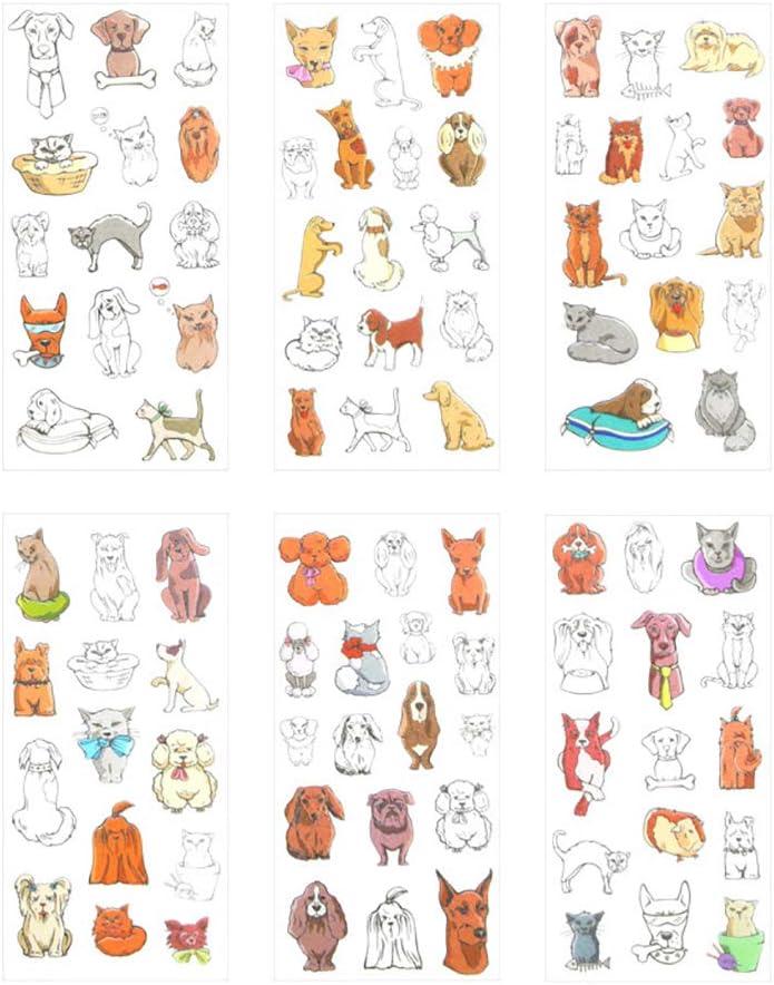 Kanggest. 6 Hojas Perro Mascota Pegatinas Diario Pegatinas DIY Decoración Memo Scrapbooking Notebook Hacer Regalo Decoración para Teléfono Móvil Etiqueta del álbum