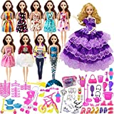 Loves 119pcs Barbie Doll Clothes Set Include 10 Pack Barbie Clothes Party Grown Outfits and Randomly 108pcs Different Barbie Doll Accessories, with a Bag