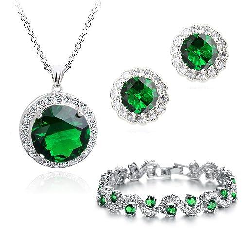 4f2d4d0ce038 18 ct Chapado en oro Crystals from Swarovski verde esmeralda conjunto  Collar Pendientes Pulsera  Amazon.es  Joyería
