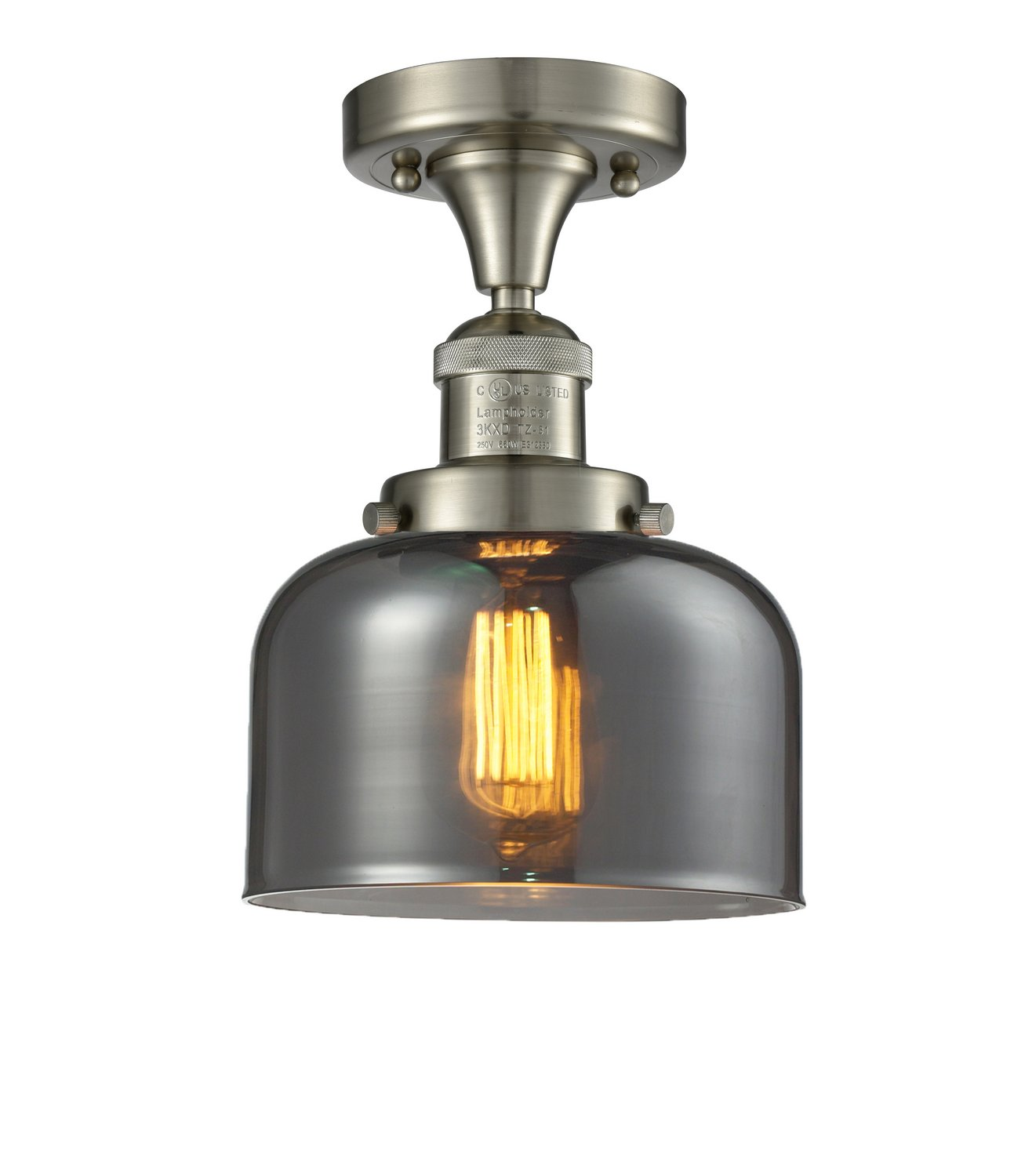 Progress Lighting P3855-09 2-Light Semi-Flush with Modern Trumpet Glass Shades in A Soft Etched Finish Brushed Nickel