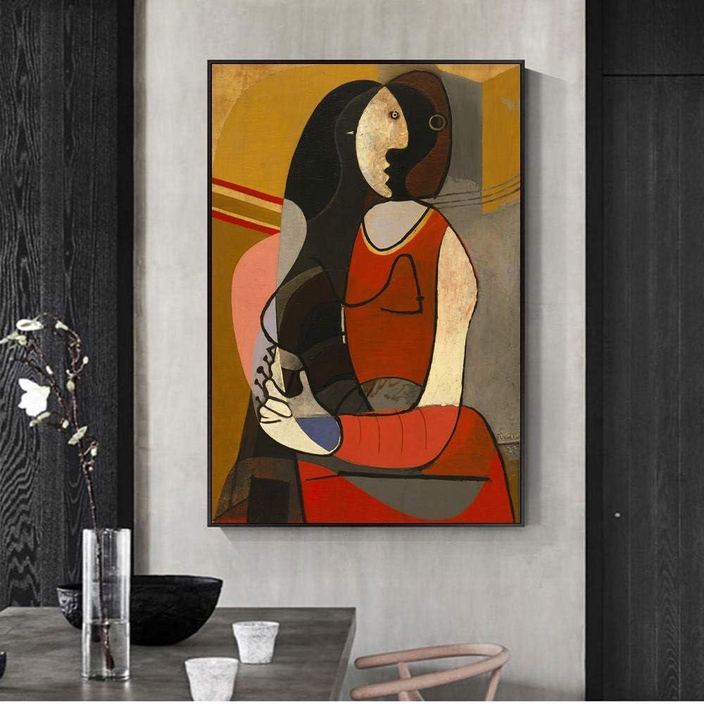 Arte de la Pared Pintura Impresiones Lienzo Cartel Mujer sentada Pablo Picasso Famosos Cuadros Abstractos Decoración del hogar para Pasillo 50X70cm Sin Marco