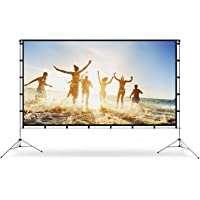 Vamvo Outdoor Indoor Projector Screen with Stand Foldable Portable Movie Screen 100 Inch (16:9) Full-Set Bag for Home…
