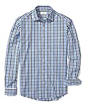 Buttoned Down Men's Fitted Spread-Collar Pattern, Blue/Black Check, 3XL 34/35