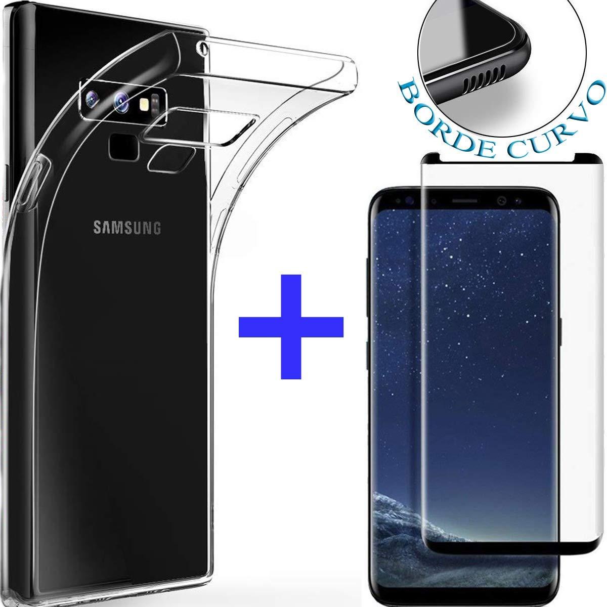 【PACK】 Cristal Templado Completo A70 Funda para Samsung A70 2019 de Silicona Transparente Ultrafina /• Protector Pantalla Cobertura Completa Resistente /• Carcasa Antigolpes Robusta de Buen Ajuste