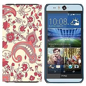 TECHCASE---Cubierta de la caja de protección para la piel dura ** HTC Desire Eye ( M910x ) ** --Diseño floral riñón Art Wallpaper Púrpura Rojo