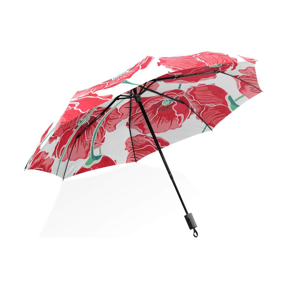 Isaoa Automatique Voyage Parapluie Pliable Compact Parapluie Rose Poppy Coupe-Vent Ultra léger Protection UV Parapluie pour Homme ou Femme