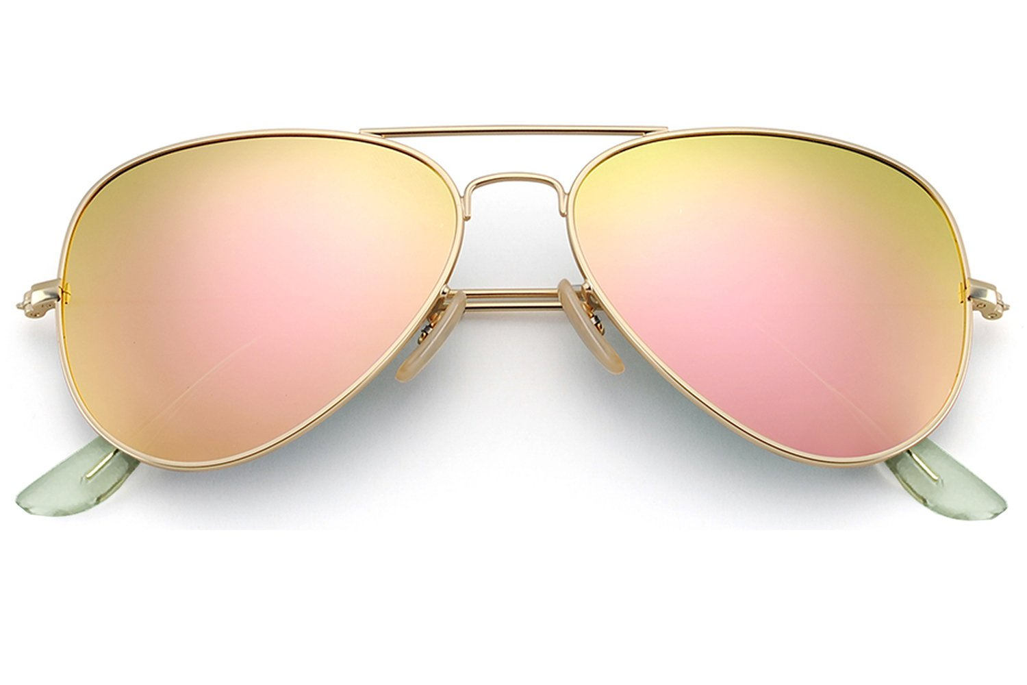 YuFalling Polarized Aviator Kids Sunglasses for Girls and Boys Age 5-12 (gold frame/pink lens, 52)