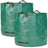 QETU 2-Pack Garden Garbage Bag - Extra Large Reusable Leaf Bags -Collapsible Gardening Containers for Lawn and Yard Waste - 4 Handles