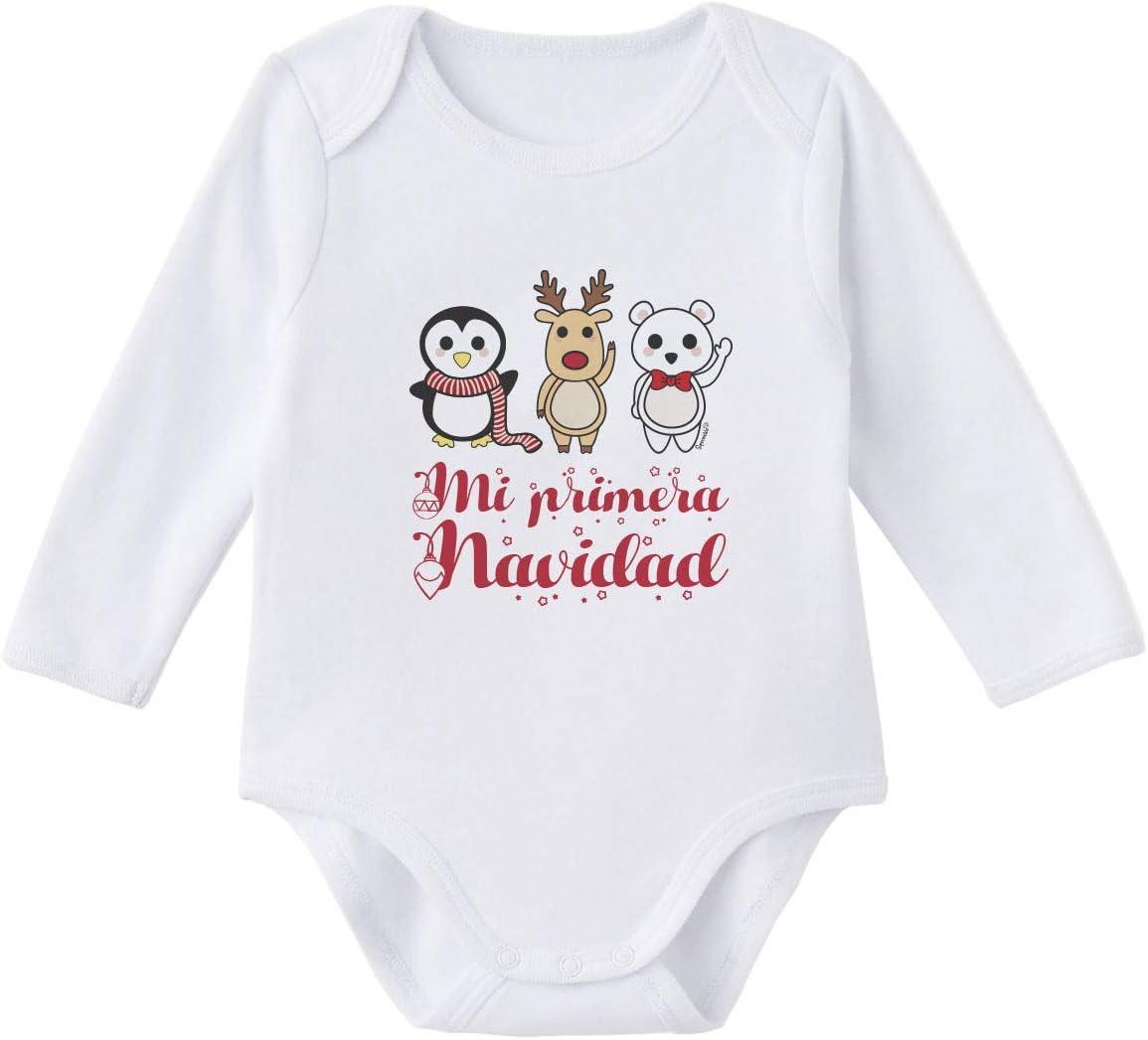 SUPERMOLON Body bebé manga larga Mi primera Navidad Blanco algodón ...