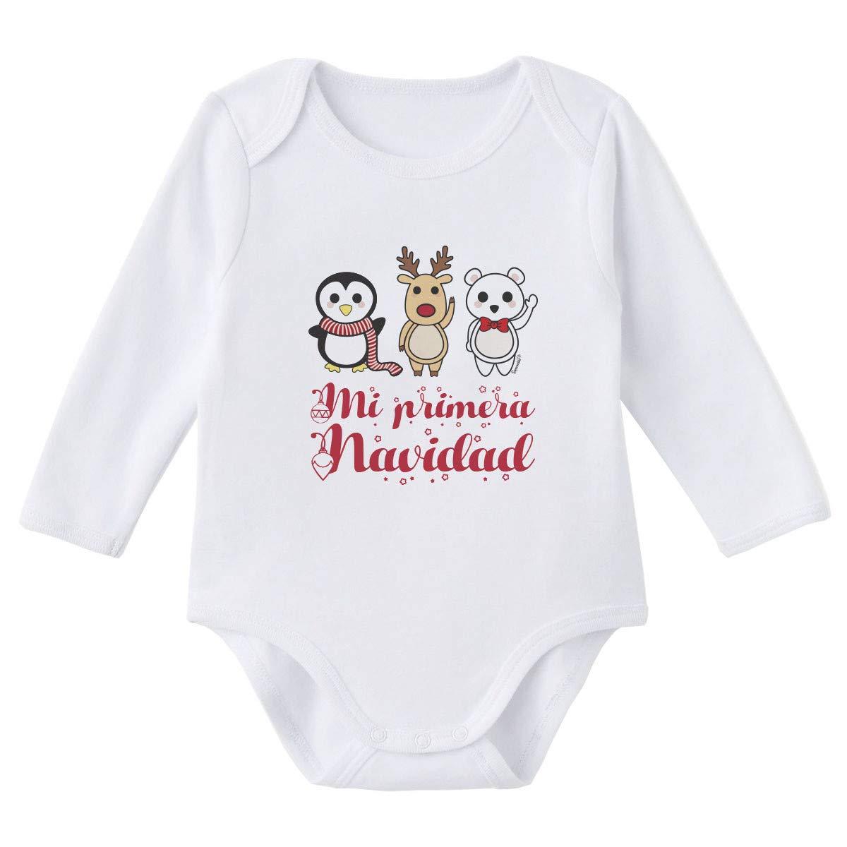 SUPERMOLON Body beb/é manga larga Mi primera Navidad Blanco algod/ón para beb/é 0-3 meses