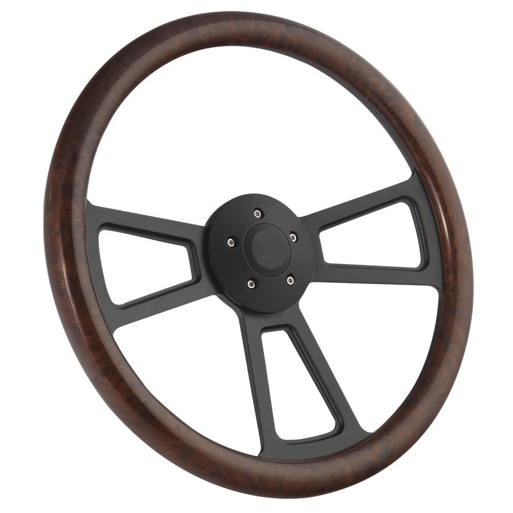Black Muscle Steering Wheel 18 Rig Freightliner, Kenworth, Peterbilt, Volvo