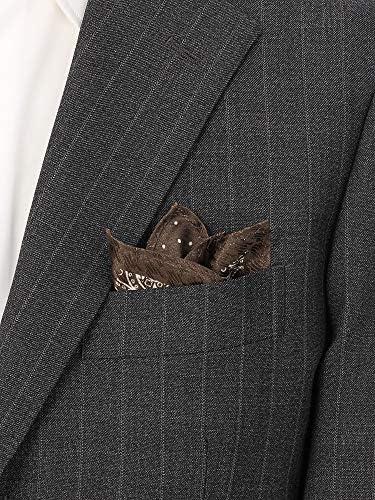 (ザ・スーツカンパニー) ペイズリー×ドット シルクジャカードリバーシブルポケットチーフ ブラウン×ホワイト