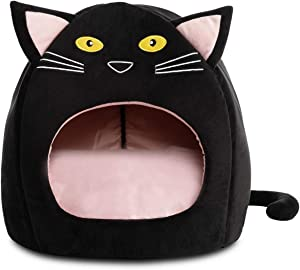 Hollypet Cozy Pet Bed Warm Cave Nest Sleeping Bed Kitty Shape Puppy House for Cats and Small Dogs, 17 x 17 inches