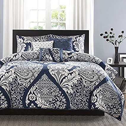 6 Piece Multi Damask Duvet Cover King/Cal King Set, Bright Boho Chic Colored