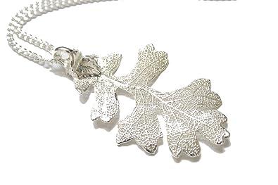 Real leaf necklace - Oak leaf in silver. w27vqYqj9