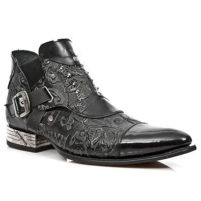 New Rock M.NW135-S2 Botas Botines Hombre Caballero Negro Cuero Piel Tacón Urbano: Amazon.es: Zapatos y complementos