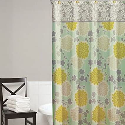 Home Classics Flower Shower Fabric Curtain Blue Yellow Gray Floral Bath