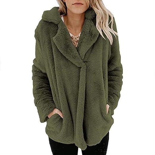5cb5f95471 Women Casual Fuzzy Fleece Cardigan Open Front Fleece Solid Coat Jacket Faux  Fur Outerwear Army Green