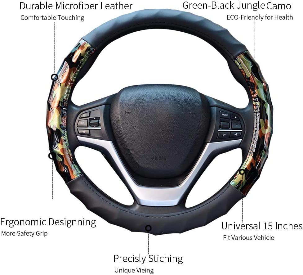 Charmchic Camo Microfiber Leather Steering Wheel Cover for Girl Women and Men,Universal Fit 15 Inches,Anti-Slip Odorless Sport Protect Hand,Blue and Black